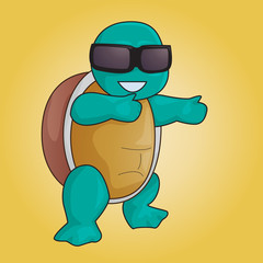 turtle with shades vector