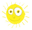 Very silly sun with big eyes