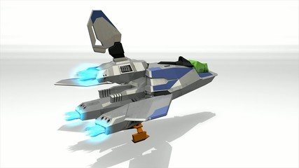 Futuristic space super fighter, alpha channel include.