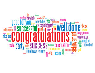 """""""CONGRATULATIONS"""" Tag Cloud (well done nice one achievement)"""