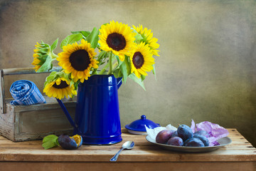 Still life with beautiful suflower bouquet
