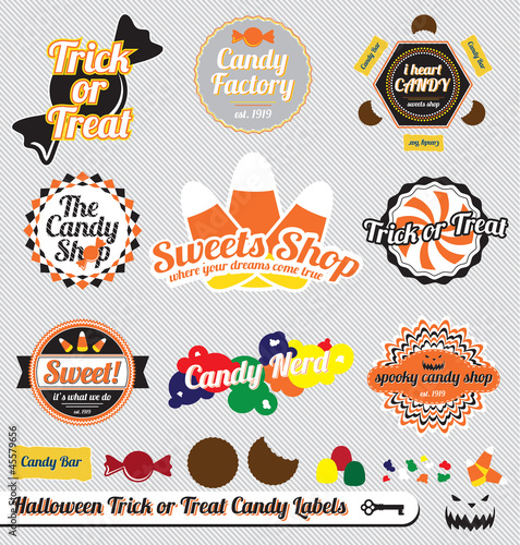 Vector Set: Retro Halloween Candy Labels and Stickers