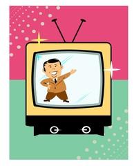 television presenter on retro tv