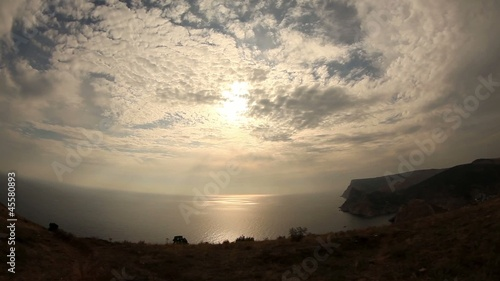 Clouds over the sea with fisheye view (Time Lapse)