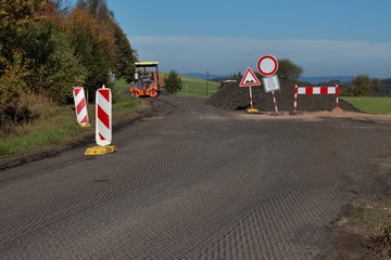 repair of roads in the Czech Republic, near the village of Bor