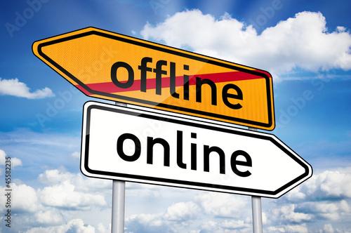 Wegweiser mit online und offline