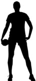black silhouette of female handball player