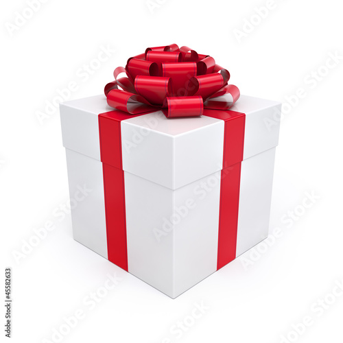 Gift Box with Red Ribbon and Bow Isolated