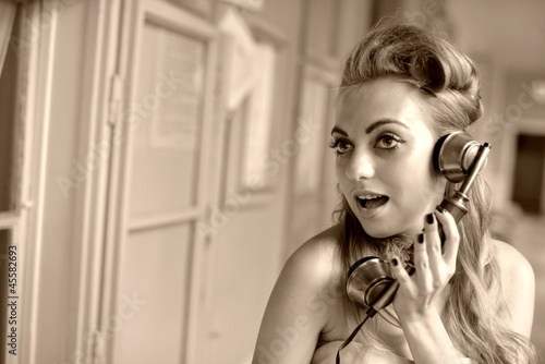 Woman Talking on Phone. Retro Style.