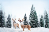 Fototapety Winter landscape with deers,snow and fir tree.