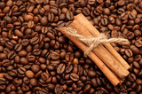 handful aromatic coffee beans with cinnamon poster