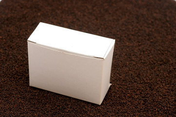 blank white box on black tea background