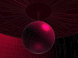 Red Disco Ball In Room Vector 03