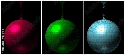 RGB Disco Ball On Black Background 02