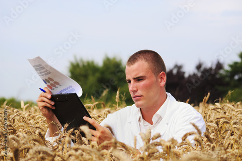 Young agronomist or a student in the wheat field