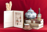 Beautiful antique display on red background