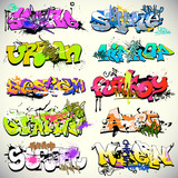 Fototapety Graffiti wall vector urban art