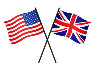 United States and UK flags