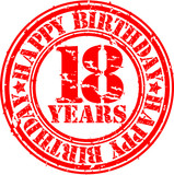 18 years happy birthday rubber stamp, vector illustration