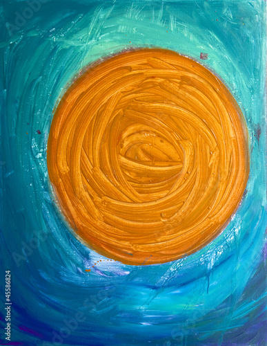 Abstract Circle. The oil painting.