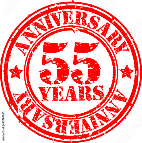 55 years anniversary rubber stamp, vector illustration
