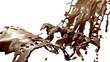 Hot dark and milk chocolate slow motion splashes. Alpha