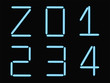 Z,0,1,2,3,4 alphabet blue neon