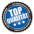 """Button """"Top Qualität"""" Blau/Schwarz/Silber"""