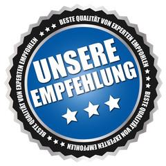 """Button """"Unsere Empfehlung"""" Blau/Schwarz/Silber"""