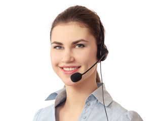 A call center employee with a headset, isolated on wbite