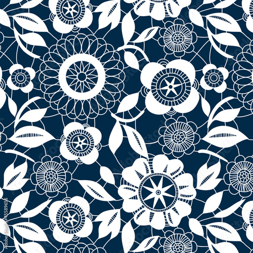 White lace crochet flowers seamless pattern, vector