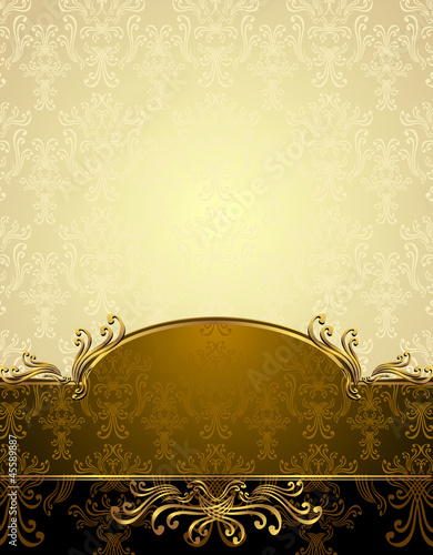 Tuinposter Kunstmatig Set Seamless pattern in Victorian style Gold and brown colors
