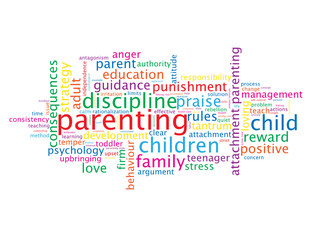 """PARENTING"" Tag Cloud (discipline parents baby family children)"
