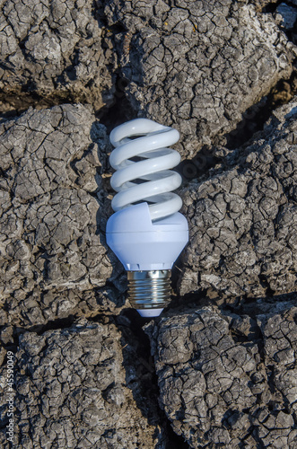 light bulb over drought land
