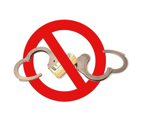 symbol prohibiting handcuffs