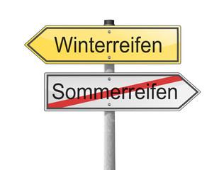 Schild Richtung Winterreifen