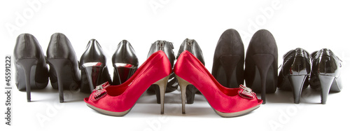 High heels red and black
