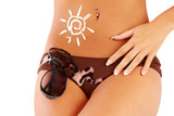 A sign of the sun on a female body, close-up poster