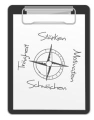 Kompass Klemmbrett Stärken
