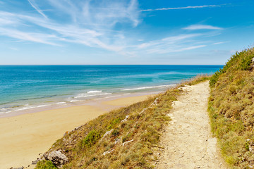 Path to the beach in carteret,  normandy, france