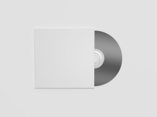 Blank compact disc with cover on white