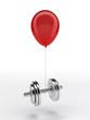 Red balloon lifting a heavy dumbbell