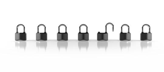 open and closed padlocks
