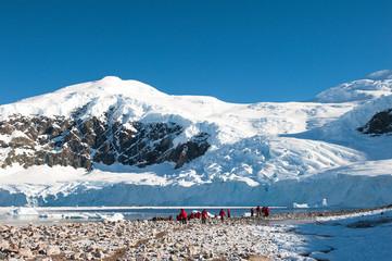 Red jacket expedition exploring Antarctica