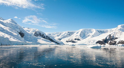 Sunny mountains landscape in Antarctica