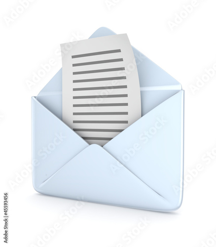 Envelope with a text document.