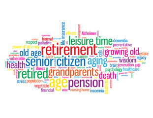 """RETIREMENT"" Tag Cloud (pension old age person grandparents)"