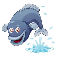 illustration of fish jumping vector