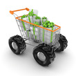 Stylized shopping trolley with a gift boxes.