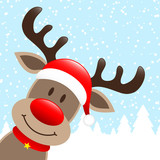 Reindeer Hat Winter Forest Snowfall Diagonal